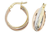 9ct Yellow Gold 375 Hoop Ladies Three Colour Earrings 200mm 3.21gr New