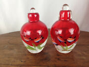 Vintage Pair Of Art Glass Perfume Bottles With Fish Design And Stoppers Wh-7
