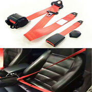 Red Car Retractable 3 Point Adjustable Extension Strap Seat Safety Nylon Belt