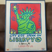 Keith Haring Hand Signed City Kids Speak On Liberty Poster 1986 Hs Ltd Edition