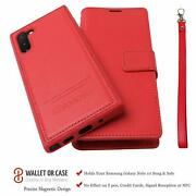 Samsung Galaxy Note 10 Wallet Case Magnetic Detachable Genuine Leather Folio Red