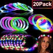20 Pack Glow In The Dark Party Supplies,10 Glow Bracelet And 10 Led Headbands