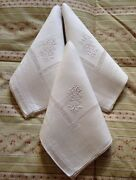 Vintage French Linen Tablecloth And Napkins Oblong 108 X 80 Large B Mono