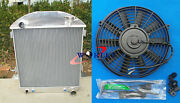 3 Row Aluminum Radiator For Ford Model T / T Bucket Chevy Engine 1924-1927 + Fan