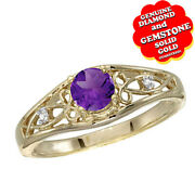 0.4 Ct Round Cut Amethyst And Diamond 14k Yellow Gold Solitaire Ring