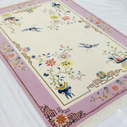 Yilong 4and039x6 Pink Handmade Wool Carpet Floral Chinese Art Deco Area Rug