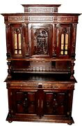 Antique 19th C. English Oak Court Cupboard Buffet Sideboard Hutch China Cabinet