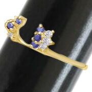 1/10 Ct Round Blue Sapphire 14k Yellow Gold Solitaire Enhancer Ring Guard Wrap