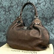 Rise-on Louis Vuitton Monogram Mahina L Bronze Leather Shoulder Bag Tote Bag 14