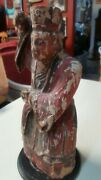 Old Antique Asian Large Hand Carved Figured Painted Wood Man--heavy Wood