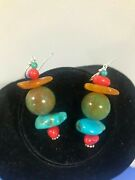 Vintage Bisbee Turquoise Red Coral Amber Snowman Earrings Christmas