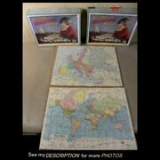 2 Vintage Victory Geographical Wooden Jigsaw Puzzle 100pc Europe And World