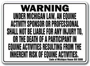 Michigan Equine Sign Activity Liability Warning Statute Horse Farm Barn Stable