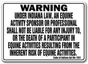 Indiana Equine Sign Activity Liability Warning Statute Horse Farm Barn Stable