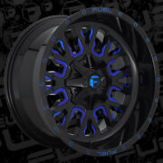 22x10 Et-18 Fuel D645 Stroke 8x170 Black W/candy Blue Rims Set Of 4