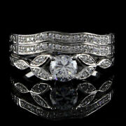 1.40 Ct Round Simulated Vintage Antique Style Three Ring In 14k White Gold