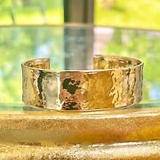 14kt Yellow Gold Hammered Textured Open-ended Cuff Bangle Bracelet New 19mm