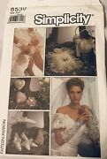 Uncut Simplicity 8530 Sewing Pattern 9 Bridal Accessories 1988 Ring Pillow Purse