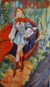 Huge Vintage 1930and039s Super Sexy Red Riding Hood Pin Up Poster Movie Theater Art