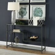 Urban Industrial Decor Ribbed Iron And Glass Xxl 52 Console Sofa Table