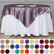 15 Pack 60 Square Satin Table Overlays Toppers Wedding Wholesale Party Supplies