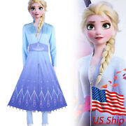 Frozen 2 Cosplay Queen Princess Elsa Costume Blue Snow Outfit Dress Party Gown