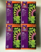 4 Boxes Home Accents 100 Ct Purple Mini Lights Halloween Black Wire Free Ship