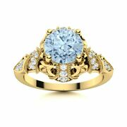 14k Yellow Gold Natural Aquamarine And Si Diamond Engagement Ring Vintage Art Deco