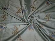 Stroheim And Romann Shabby Rose Bouquets Embroidered Silk Fabric 15 Yards Blue