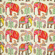 Clarence House Whimsical Elephants And Palm Trees Fabric 10 Yards Cream Persimmons