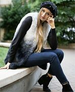 I.n.c. Womenand039s Ombre Faux-fur Vest Color Black/grey Size S/m New With Tag