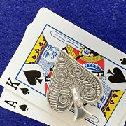"""Poker Card Guard/protector,""""ace With A Handle"""" Handmade Sterling Silver."""