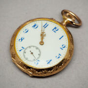Pre-owned Pocket Watch 1900 Manual-wind Watch Features 36mm Engraving 14k Pink