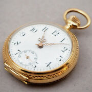 Pre-owned Pocket Watch 1900 Manual-wind Watch Features 33mm Engraving 14k Pink