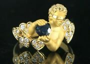 Carrera Y Carrera 18k Yellow Gold Blindfolded Putto Heart Sapphire Diamond Ring