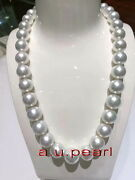 Aaaaa 1713-15mm Perfect Round Real Natural South Sea White Pearl Necklace 14k