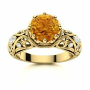 Vintage 1.62ct Vs Diamond And Aaa Citrine Filigree Engagement Ring 14k Yellow Gold