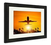 Framed Print Airplane Flight To Paradise Concept Image With Airliner And Palm T