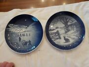2 Royal Copenhagen Christmas Plates Xmas In Greenland Hare In Winter 1971and72