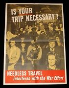 Is Your Trip Necessary 1943 Wwii Office Of Defense Transportation Poster