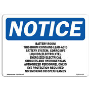 Osha Notice - Battery Room This Room Contains Lead-acid Sign | Heavy Duty