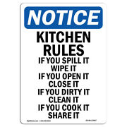 Osha Notice - Kitchen Rules If You Spill It Sign | Heavy Duty Sign Or Label