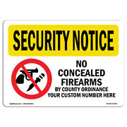 Osha Security Notice Sign - No Concealed Weapons By County | Andnbspmade In The Usa