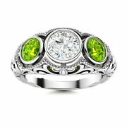 1.29 Carat Natural Si Diamond And Peridot Antique 14k White Gold Three Stone Ring