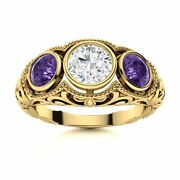 1.17carat Natural Si Diamond And Amethyst Antique 14k Yellow Gold Three Stone Ring