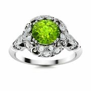 Genuine Aaa Peridot And Diamond Vintage 14k White Gold 0.82 Carat Engagement Ring