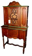 Antique English Jacobean Style One Door Breakfront China Hutch Cabinet Cupboard