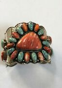 Authentic Vintage Navajo Thomas Nez Spiny Oyster Shell And Turquoise Bracelet H