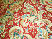 Antique French Stylized Floral Cotton Cretonne Fabric Red Prussian Blue Camel
