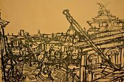 Rudolf Hradil Original Signed Architecture European Cityscape Ink Sketch Drawing